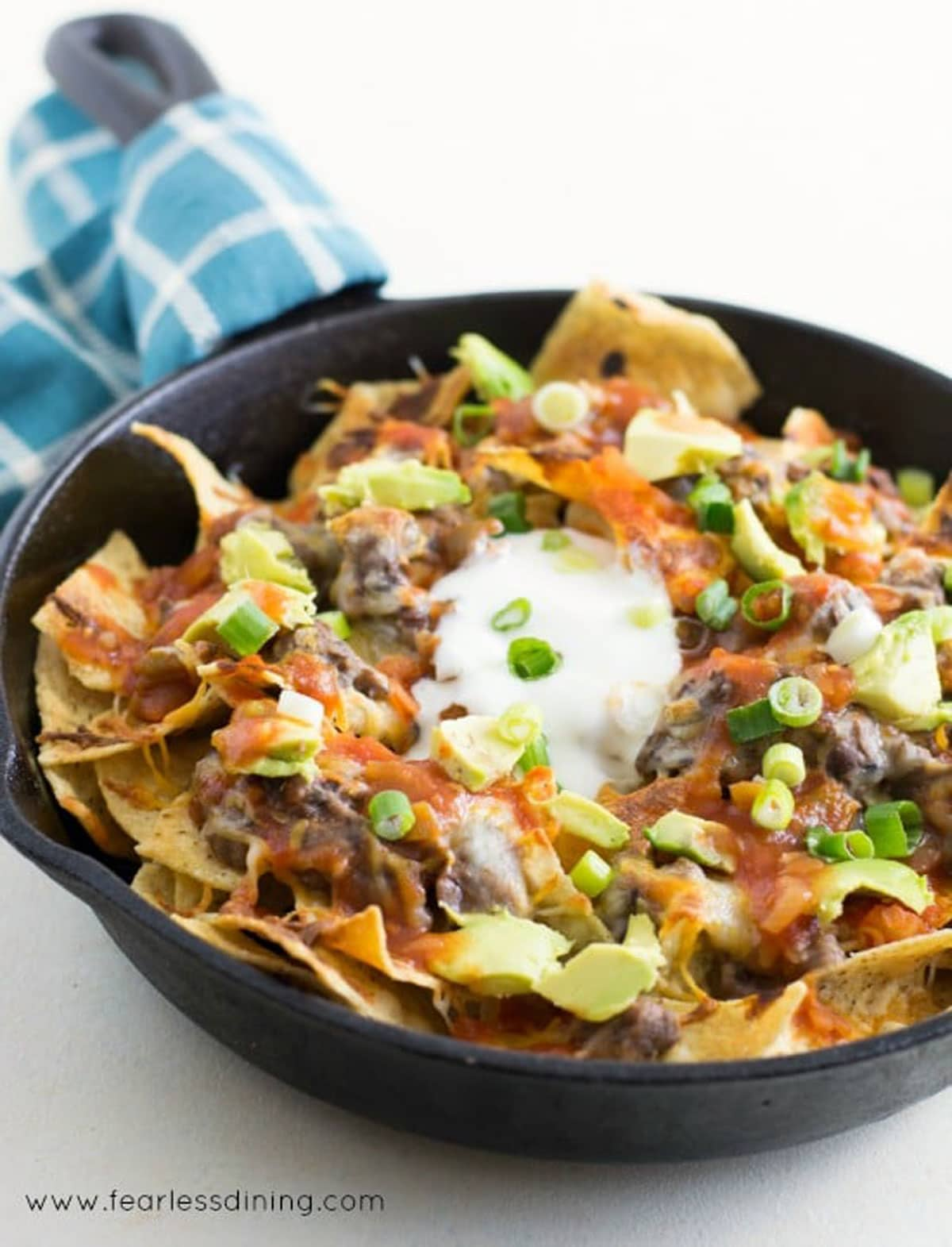 another view of the skillet of black bean dip nachos