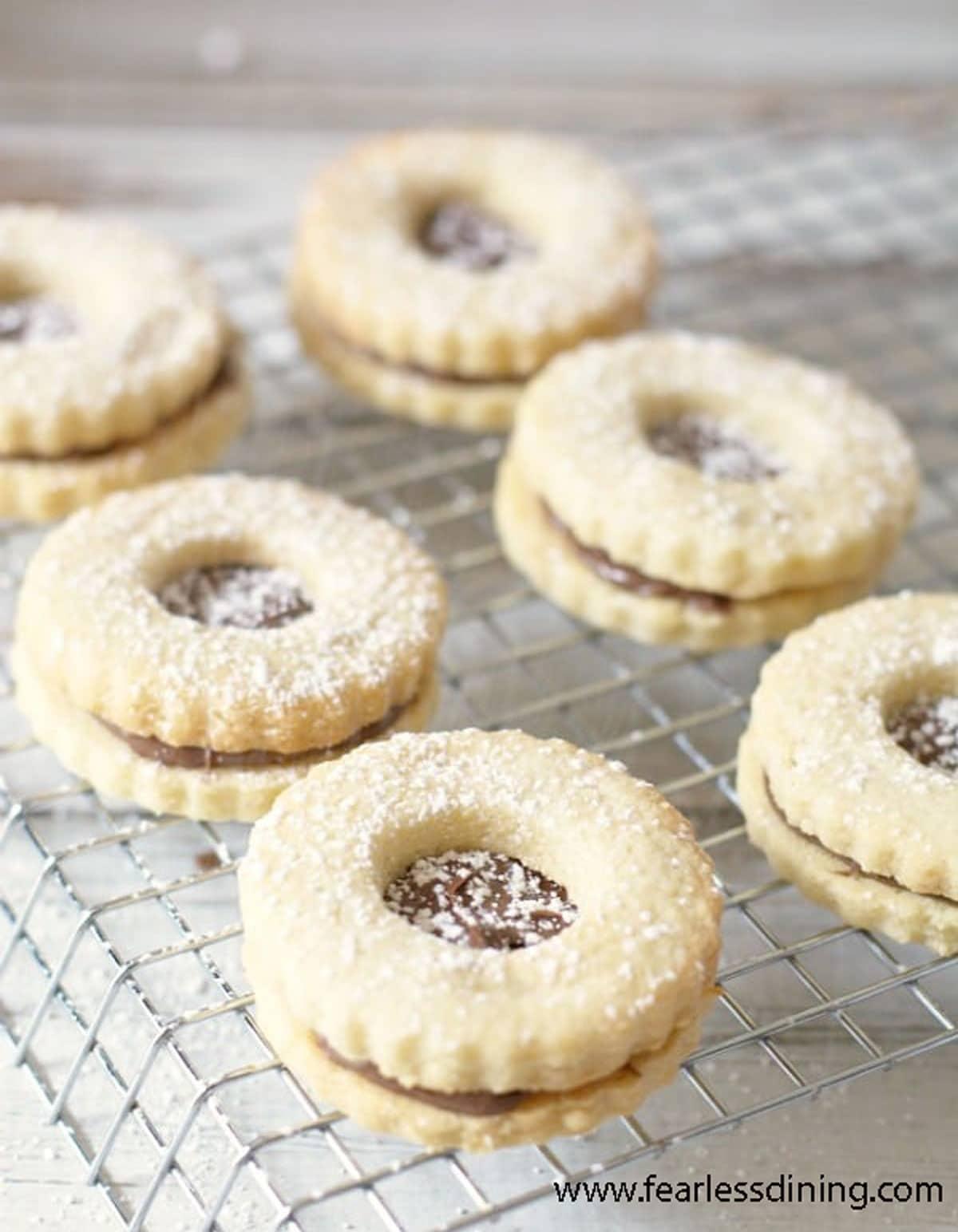 a rack of linzer cookies