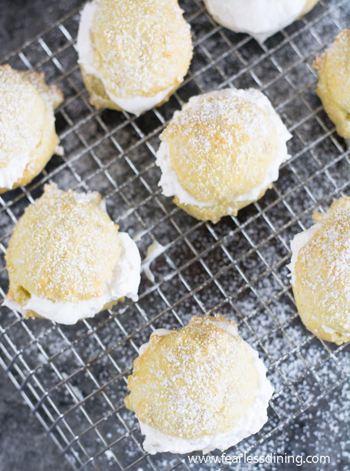 cream puffs on a rack