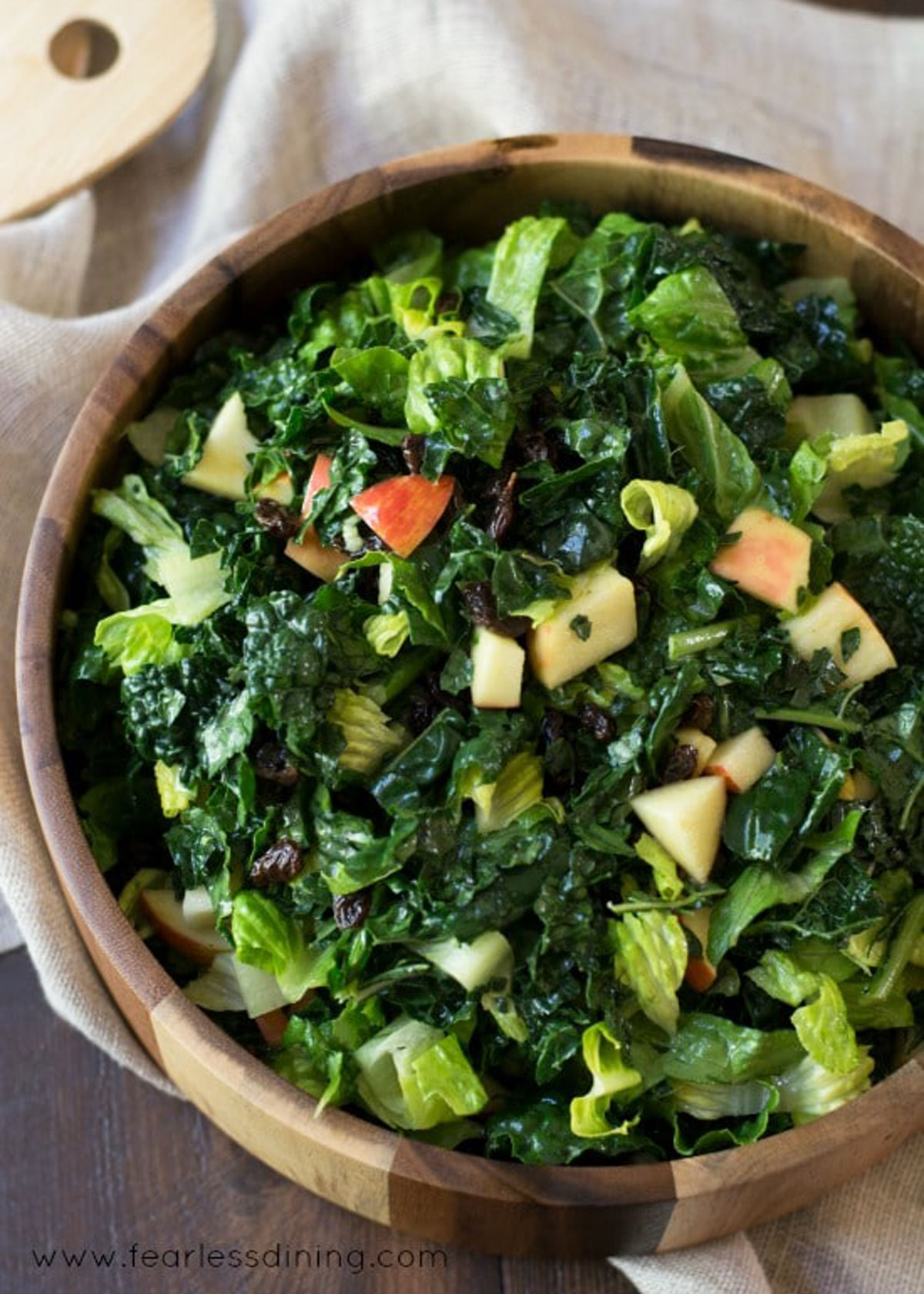 the top view of a big bowl of kale salad