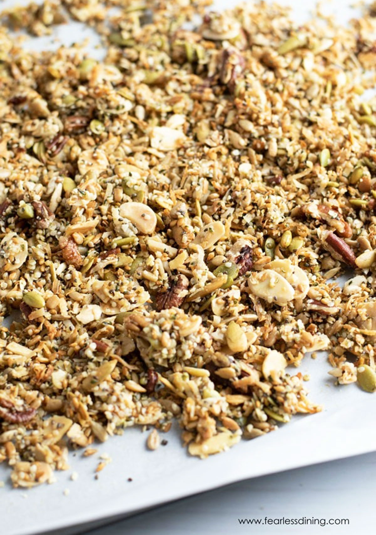 a tray of baked granola