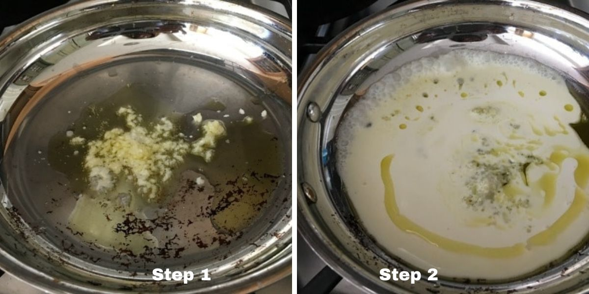 steps one and two making alfredo sauce