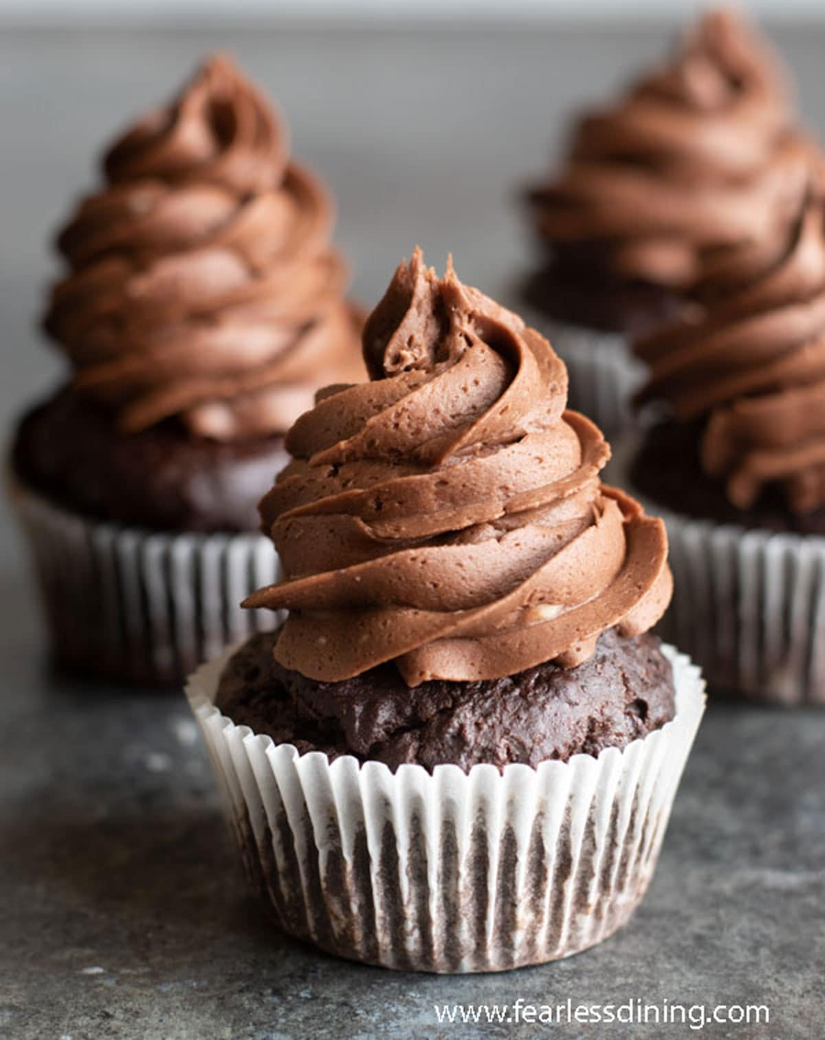 rows of chocolate cupcakes on the counter