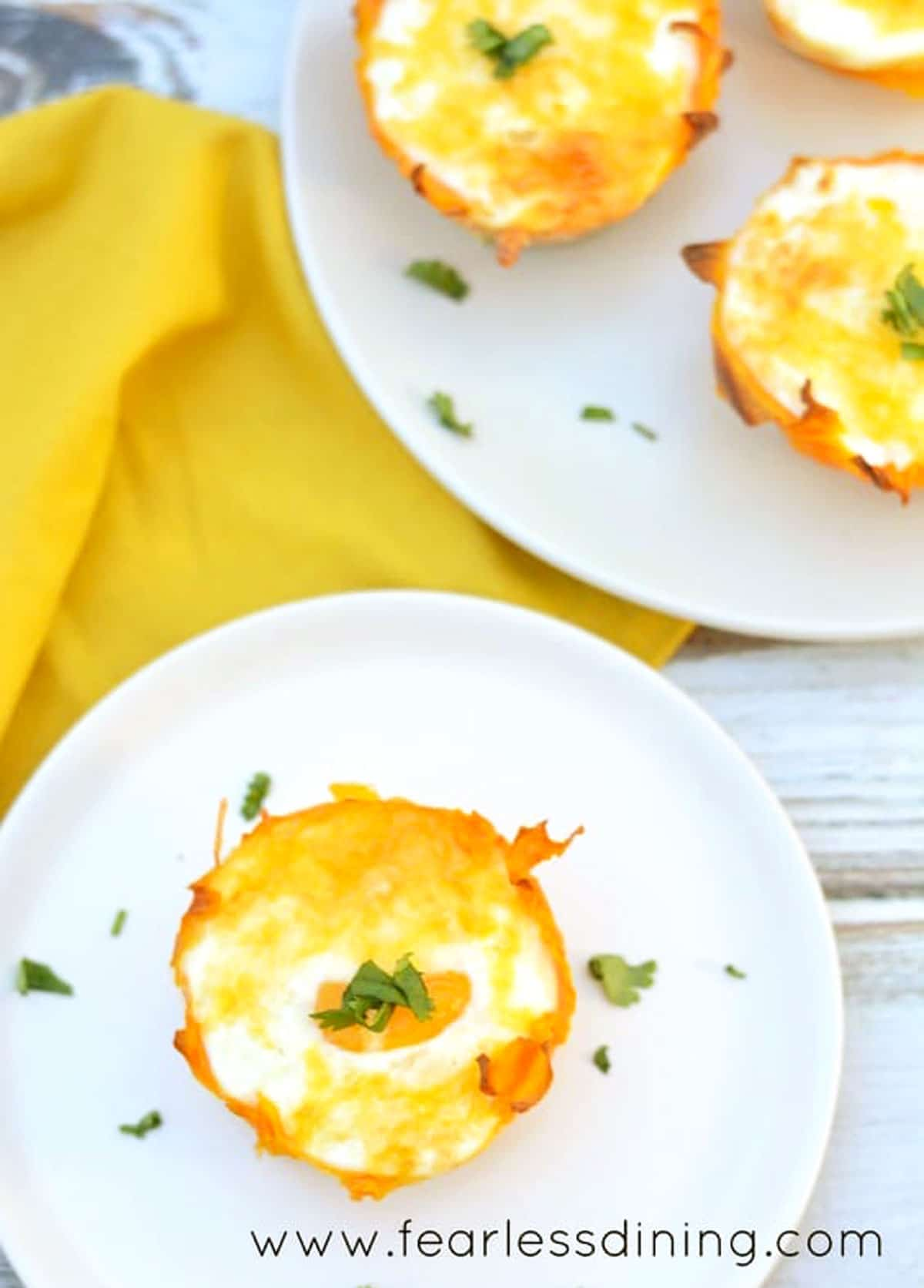 the top view of squash egg cups on plates