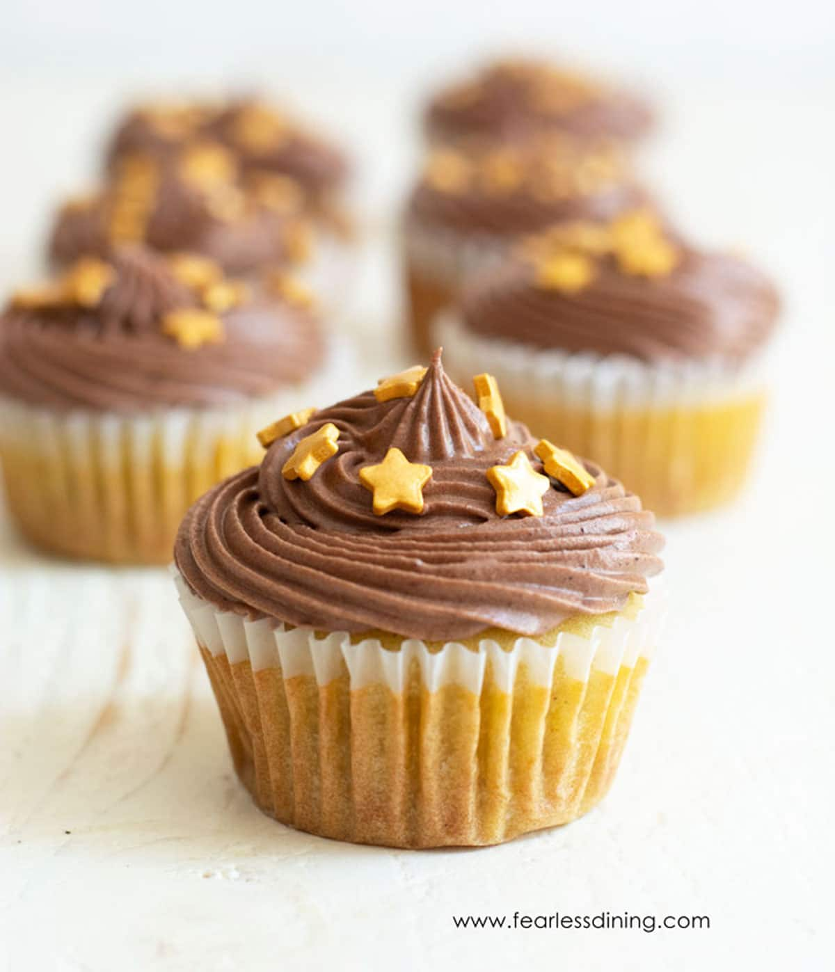 rows of vanilla cupcakes topped with chocolate frosting