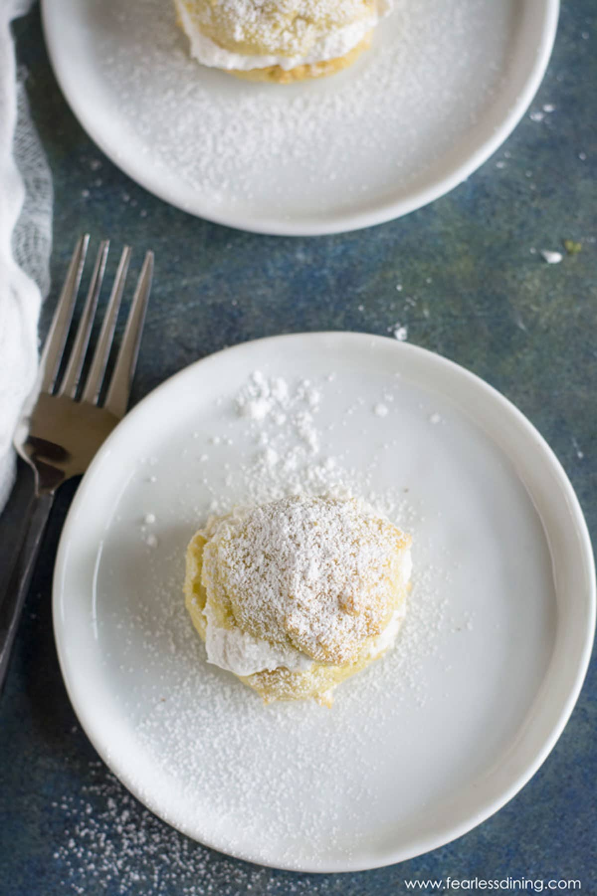 the top view of a cream puff on a plate
