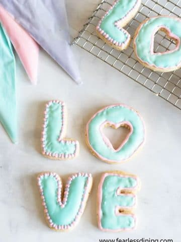 gluten free cut out cookies in letter shapes LOVE decorated