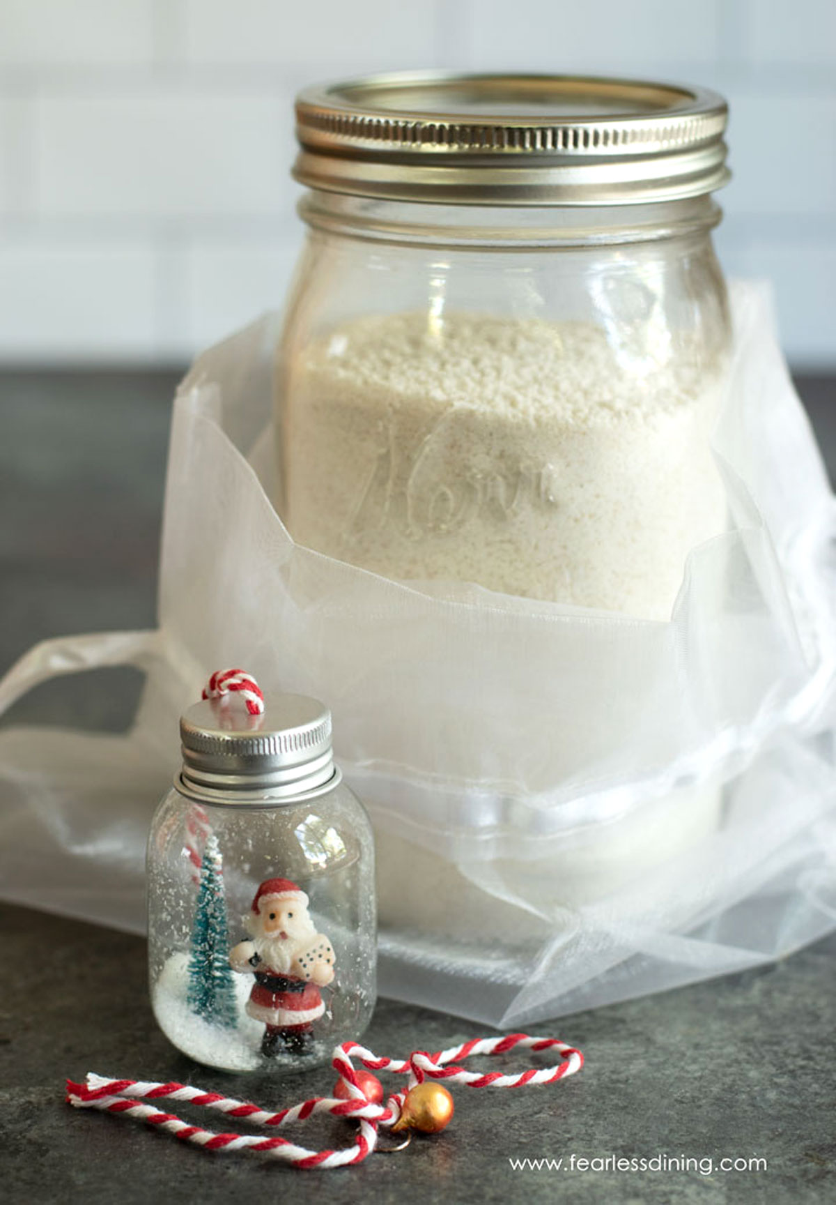 a holiday wrapped mason jar