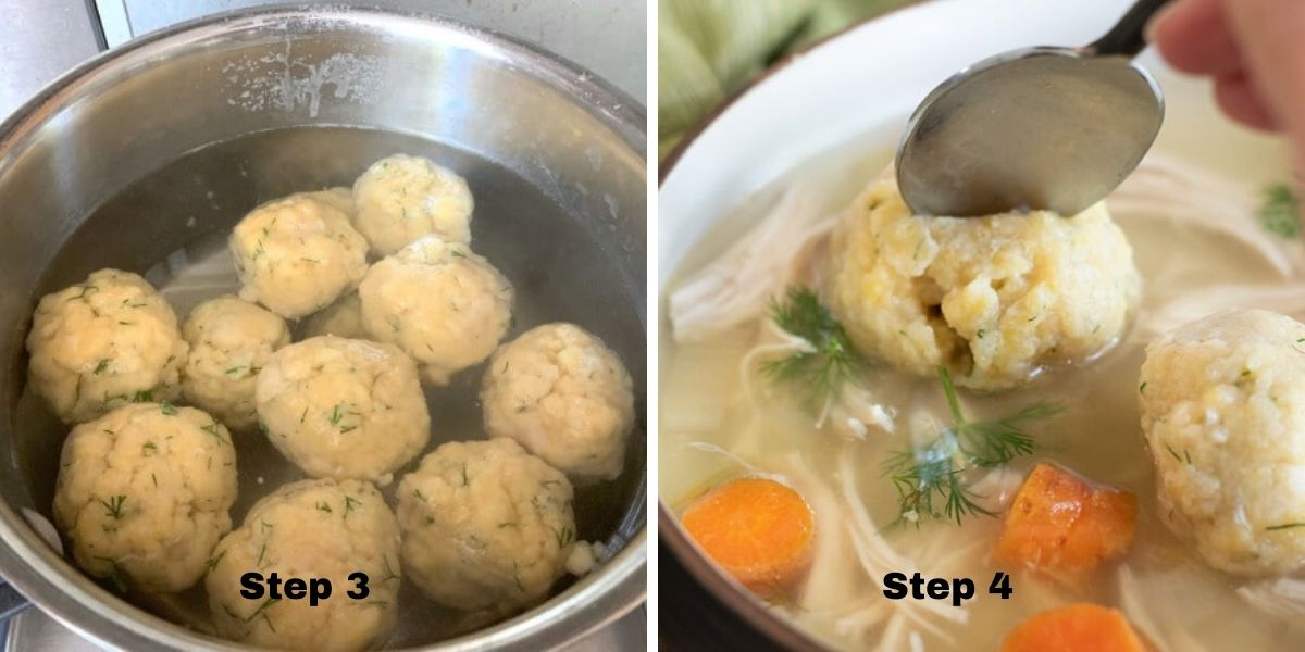matzo ball soup photos steps 3 and 4