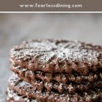 a pinterest collage of a stack of pizzelle cookies