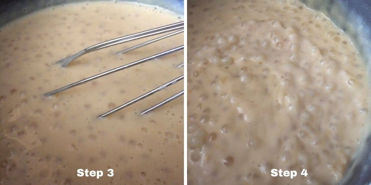 photos of the tapioca pudding cooking