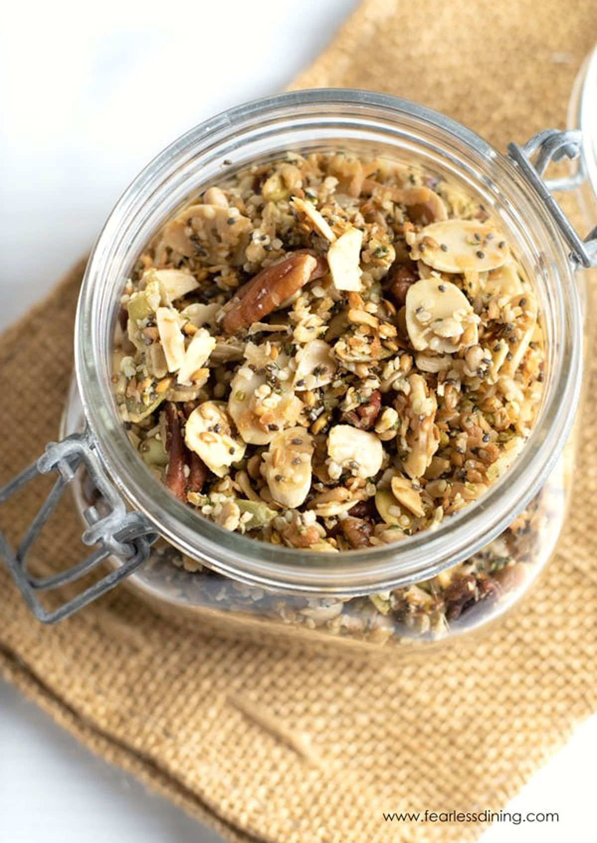 the top of a jar full of granola