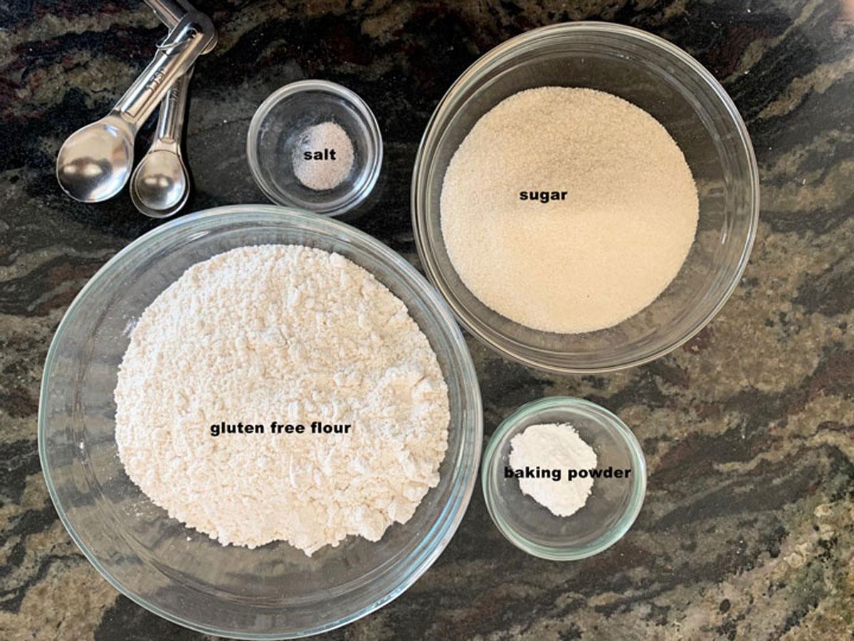 cake mix ingredients in bowls