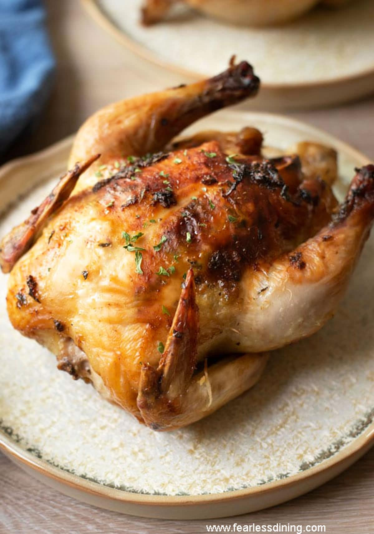 The front view of the air fried cornish game hen