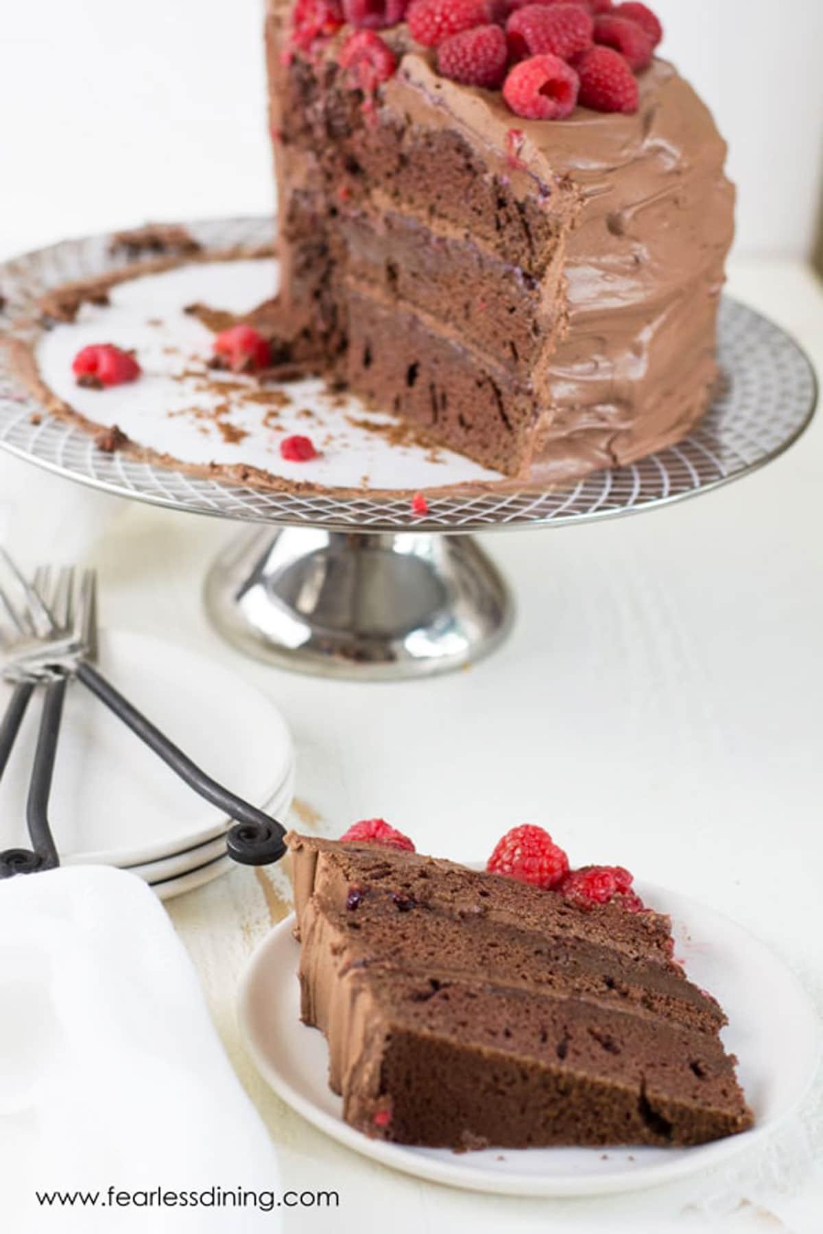 a slice of chocolate raspberry cake on a white plate