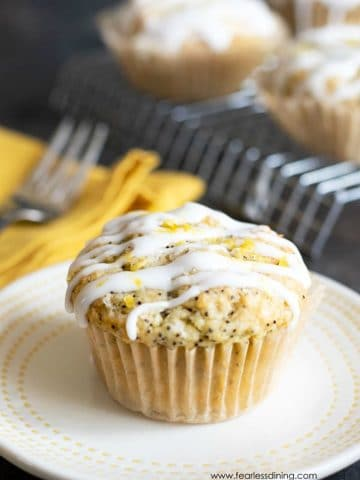 a lemon poppy seed muffin on a plate