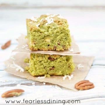 matcha cookie bars stacked on top of each other