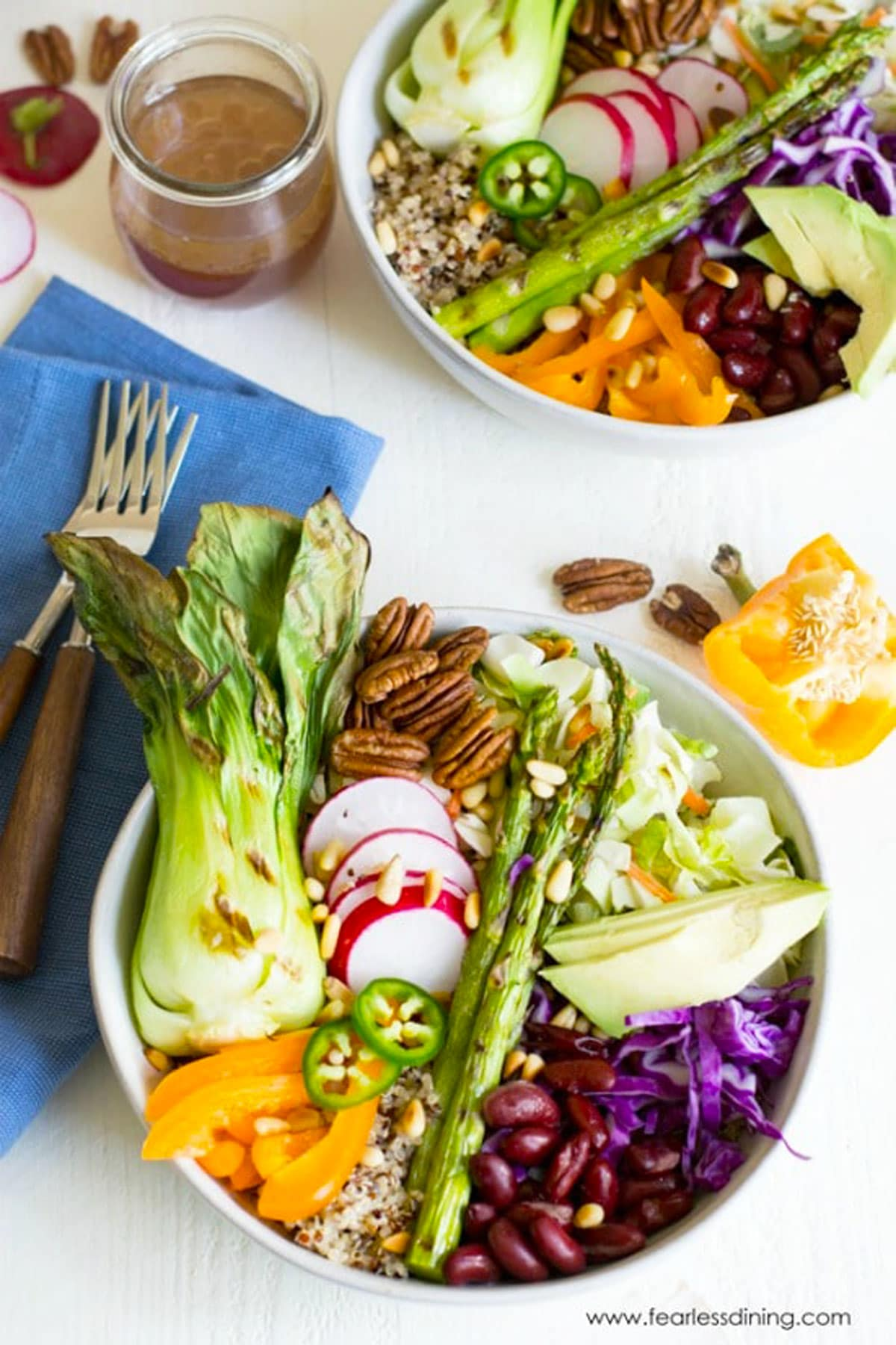 the top view of two vegan buddha bowls