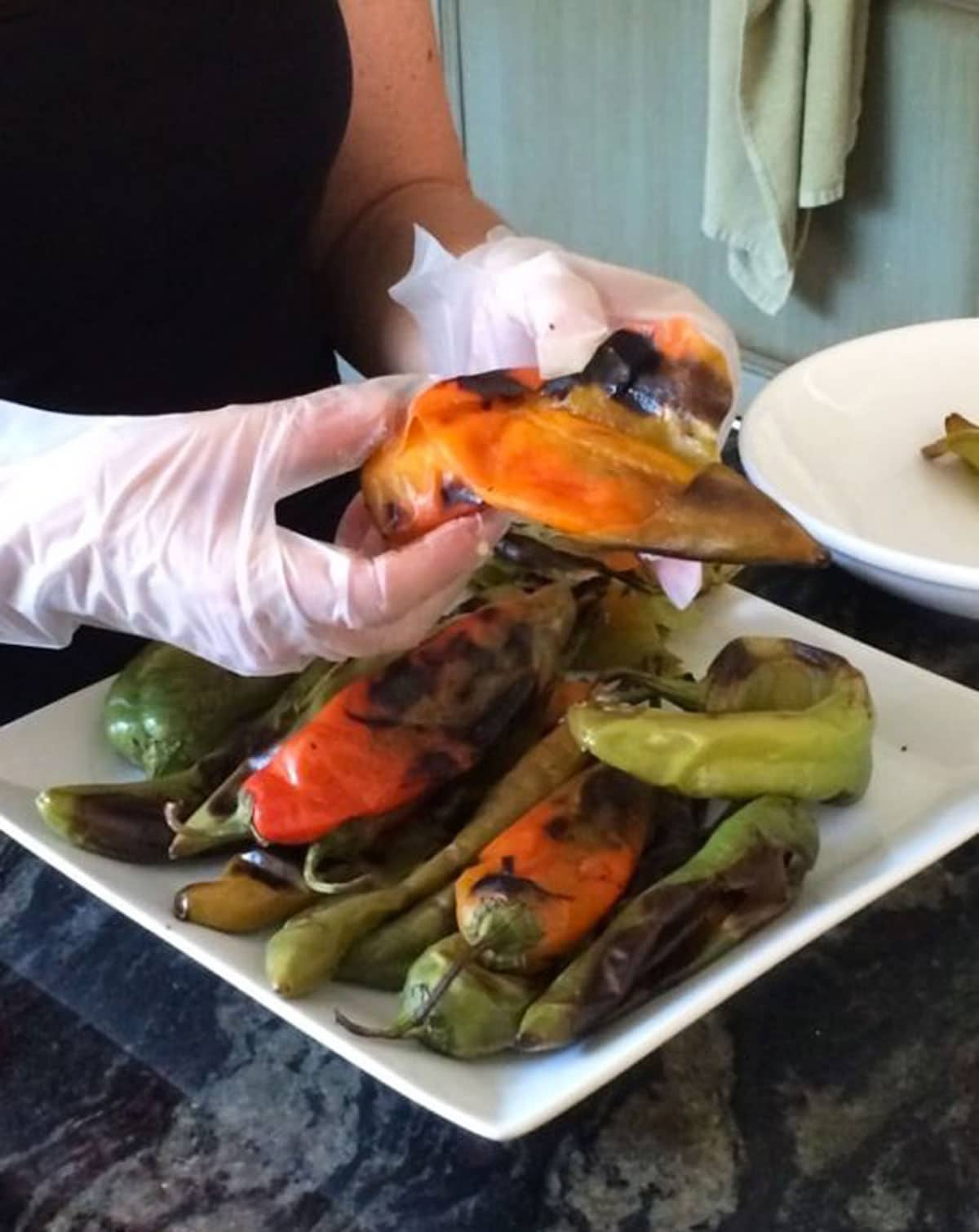 peeling blistered hatch green chiles