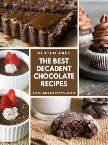 a collage of chocolate dessert photos
