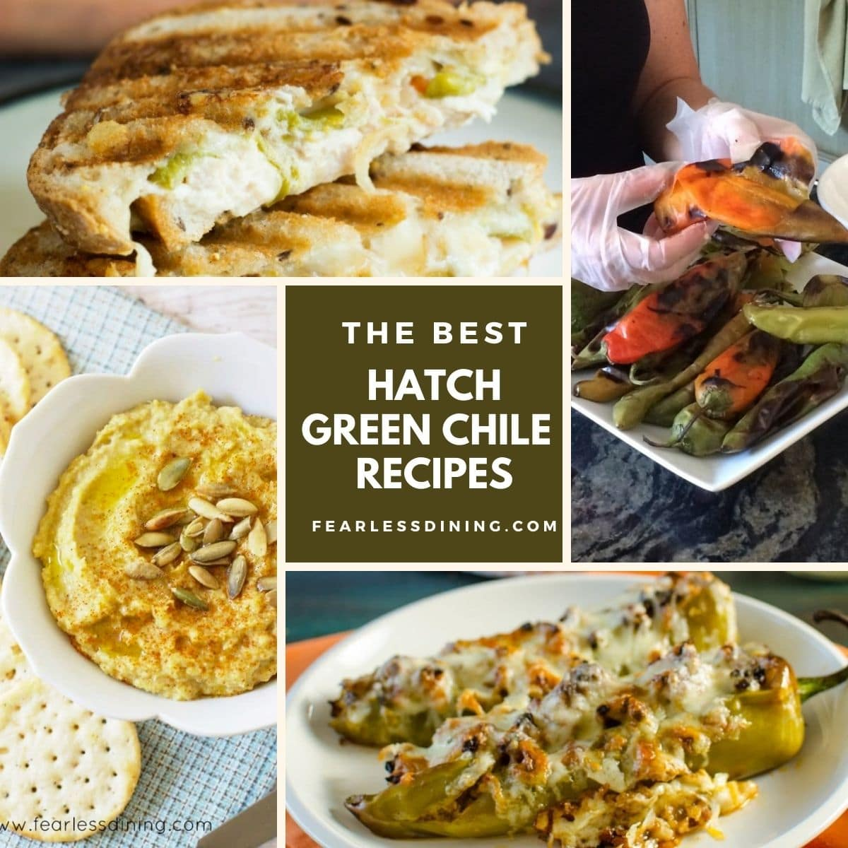 a collage of four hatch chile recipe photos