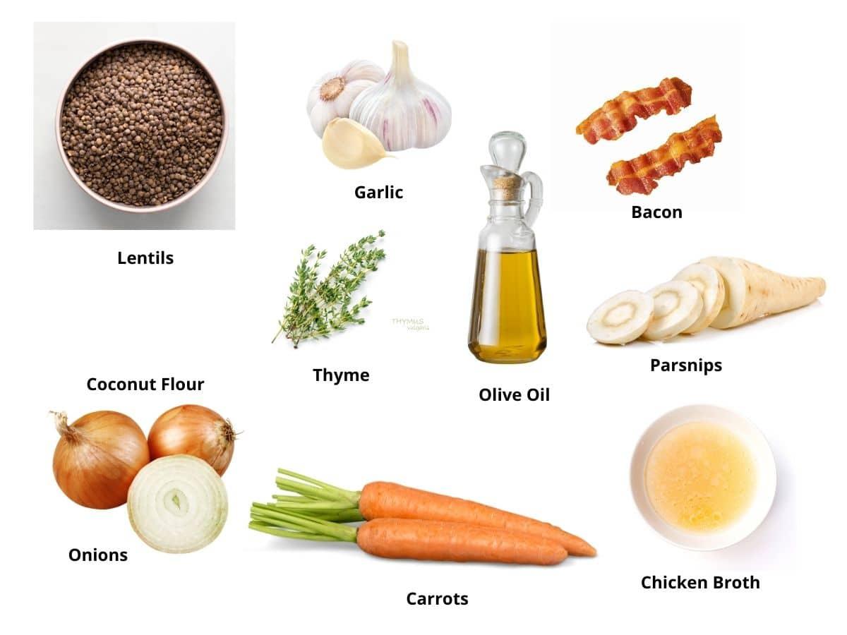 lentil bacon soup ingredients