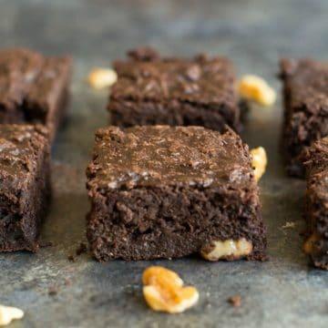 paleo brownies on a baking sheet