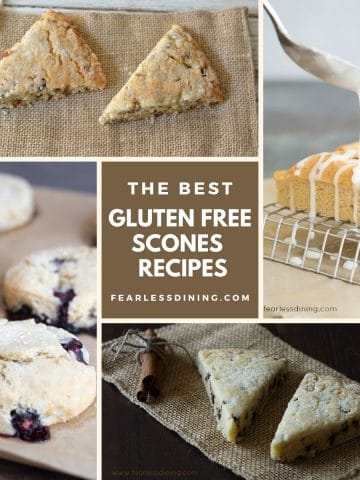 a collage of four different scones photos