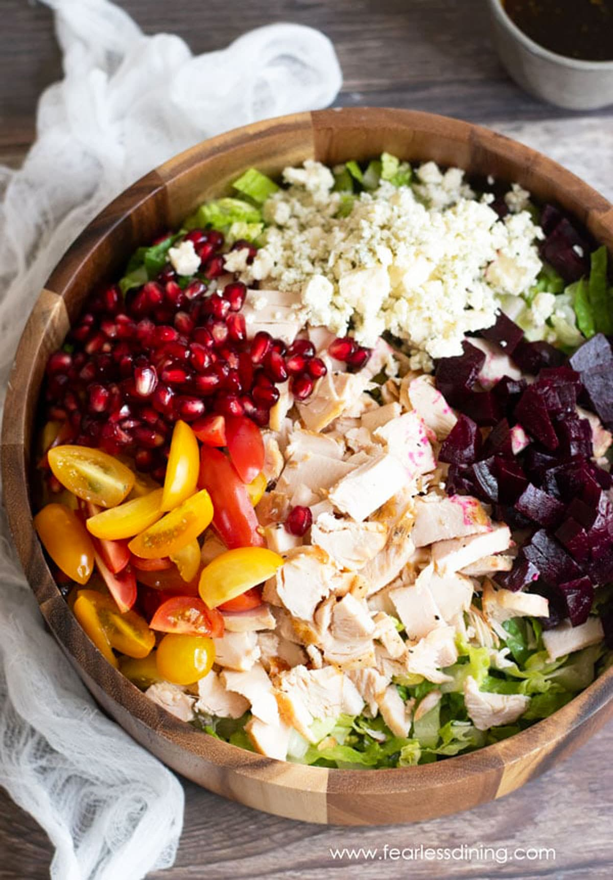 the top view of a chopped salad before it is mixed