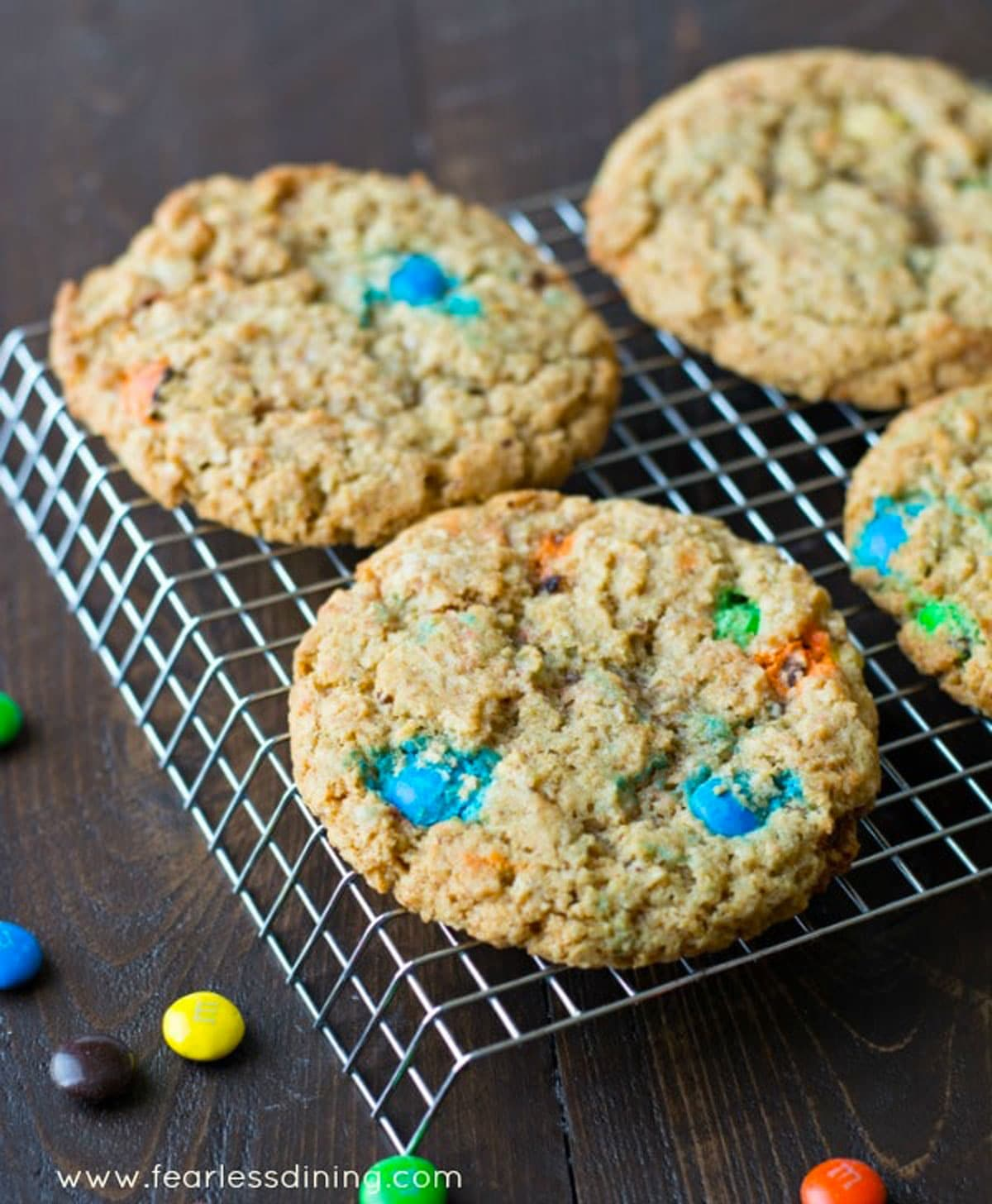 a rack full of giant M and M cookies