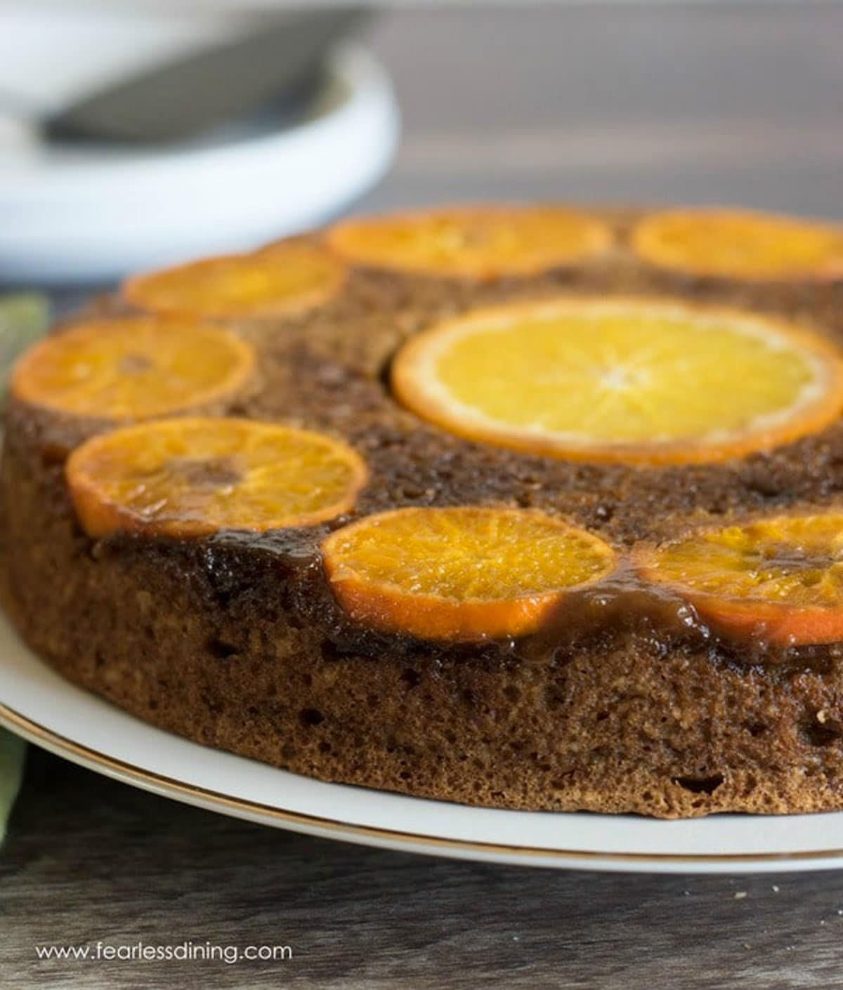a close up of the caramelized oranges on the upside down cake