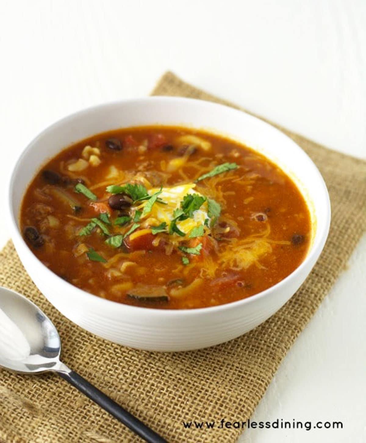 a bowl of ground pork soup