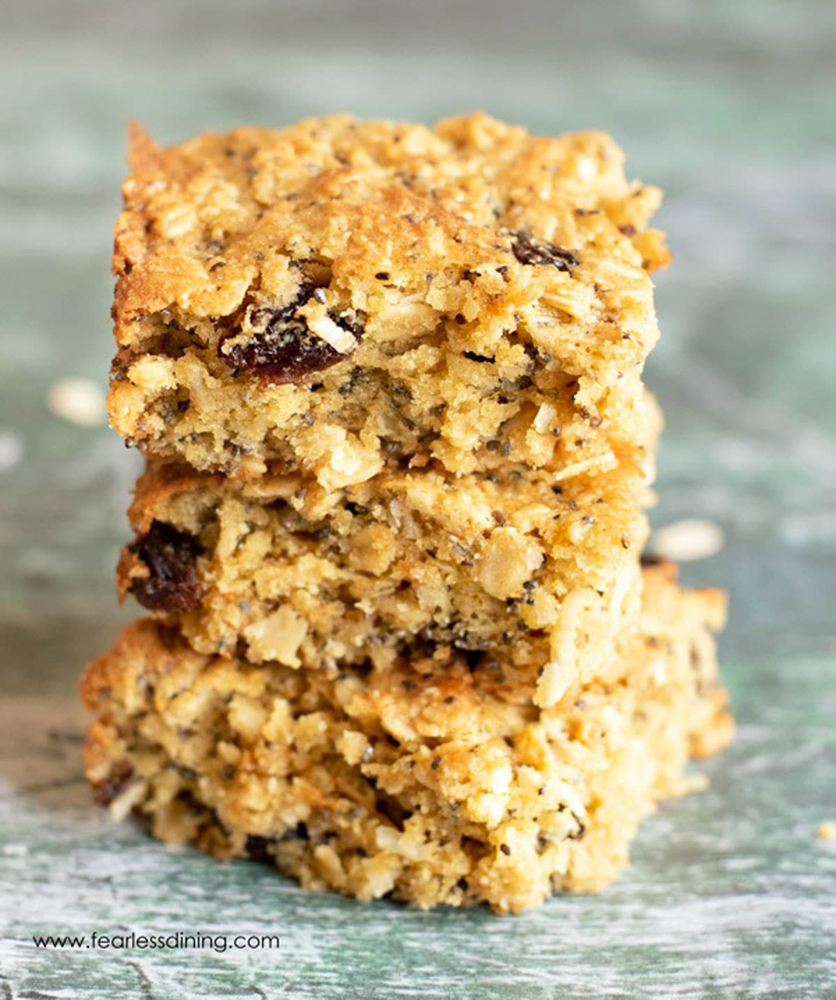 a stack of three breakfast bars on the counter