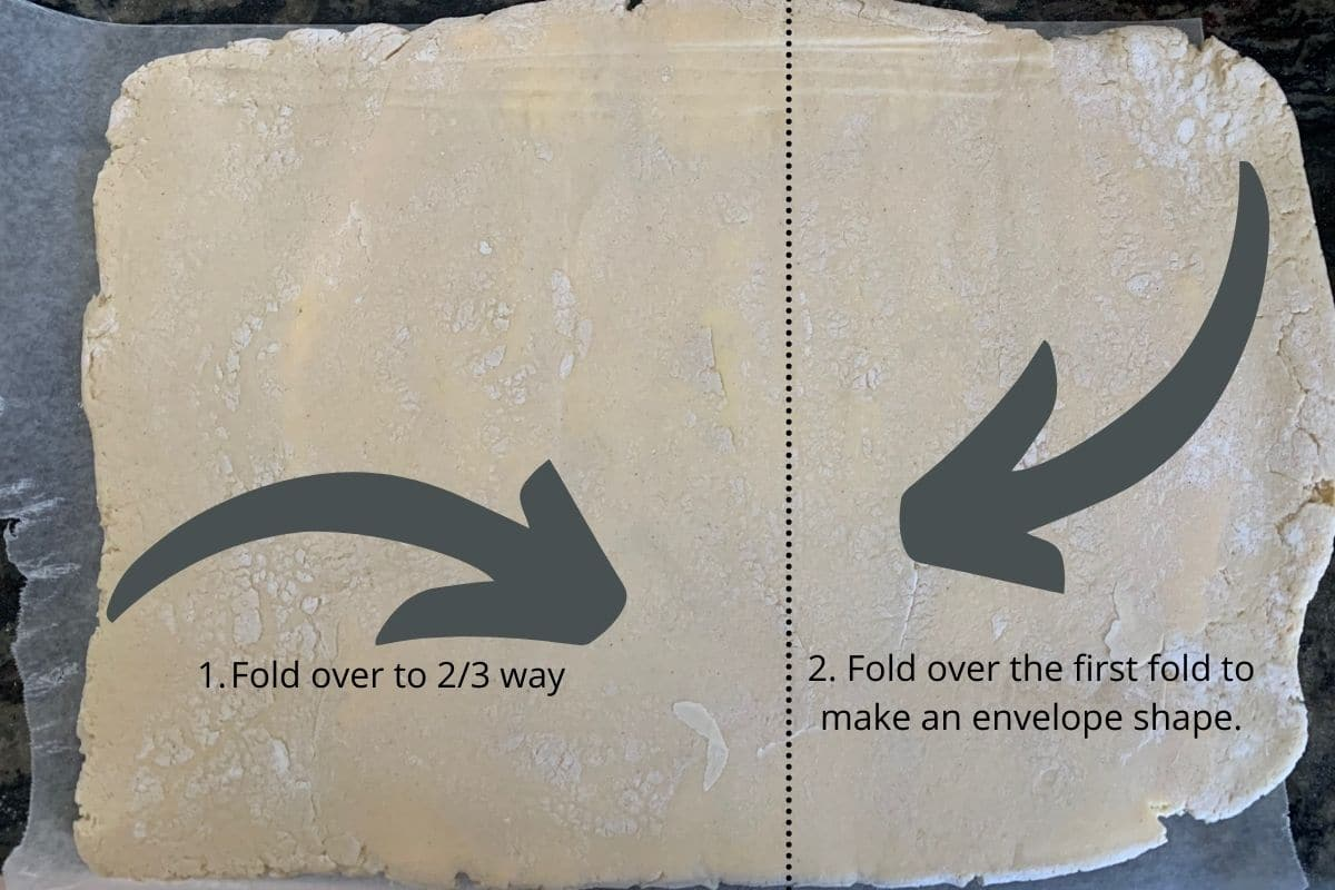 an illustration showing how to fold the dough