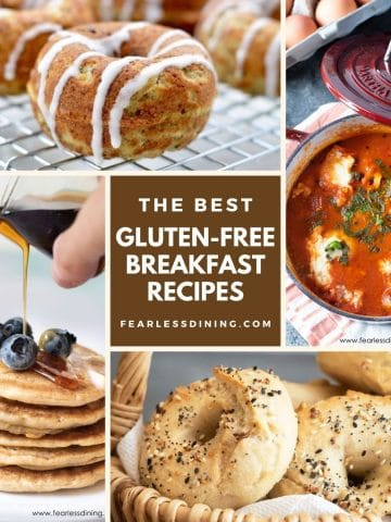four breakfast photos in a collage