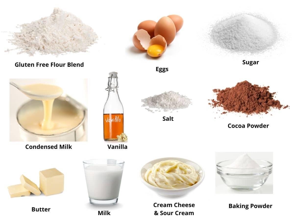 gluten free brownie cheesecake bars ingredients