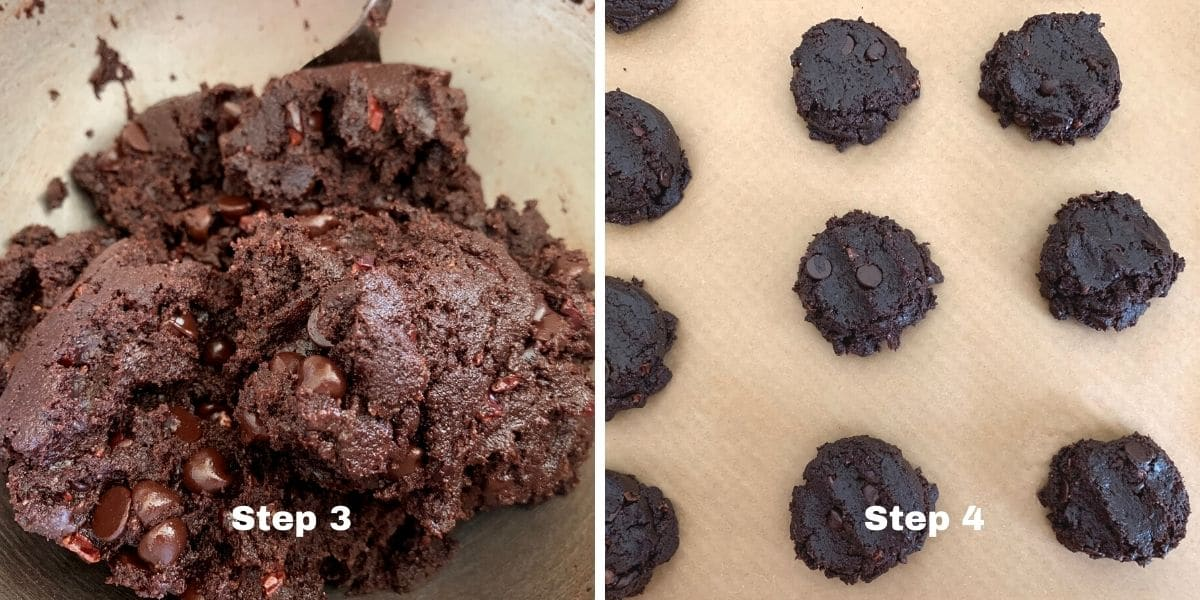 chocolate espresso cookies photos of steps of 3 and 4