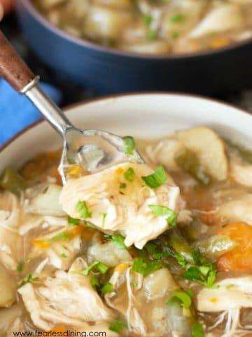 a spoonful of hearty gluten free chicken stew