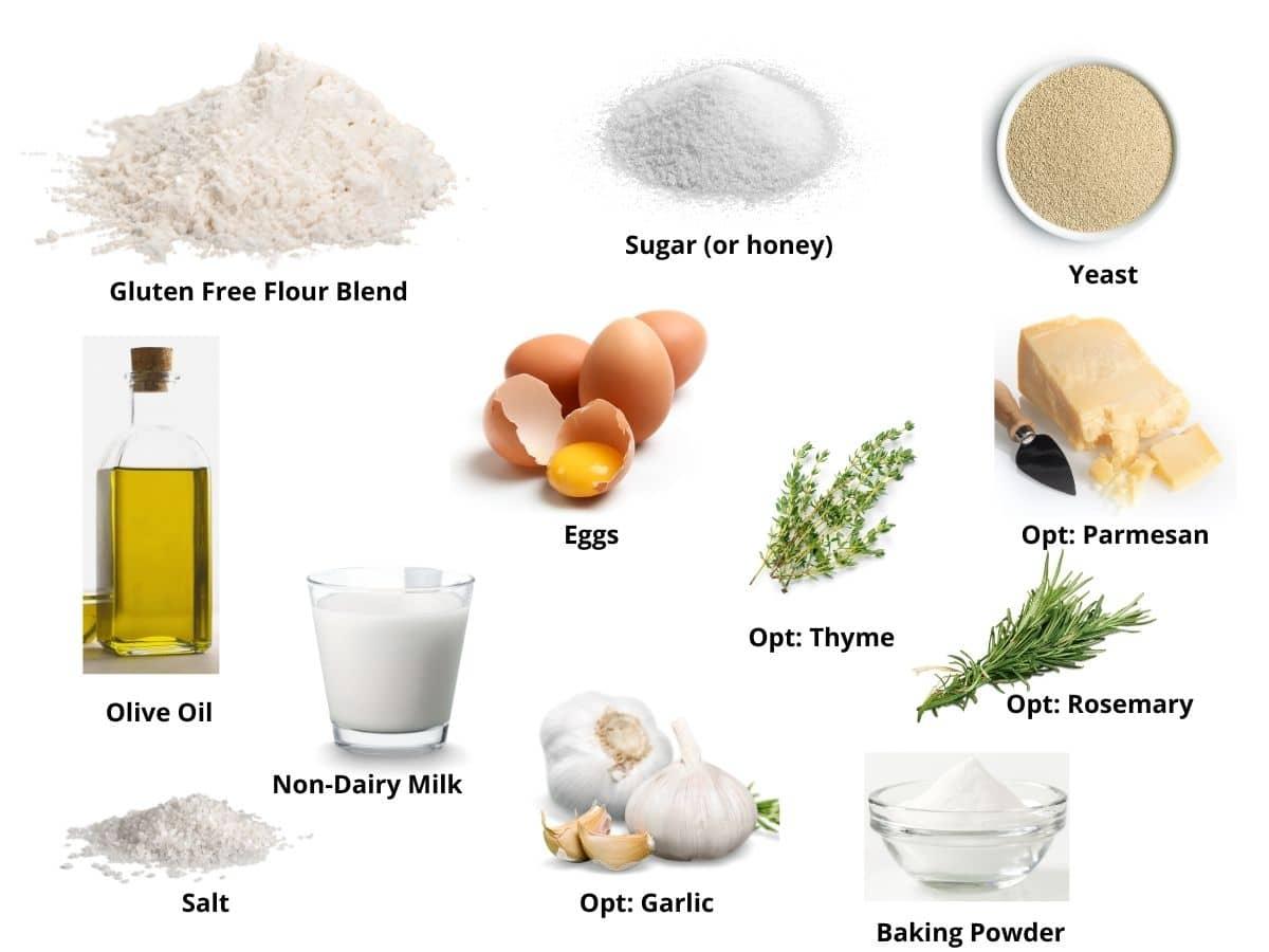 gluten free focaccia bread ingredients