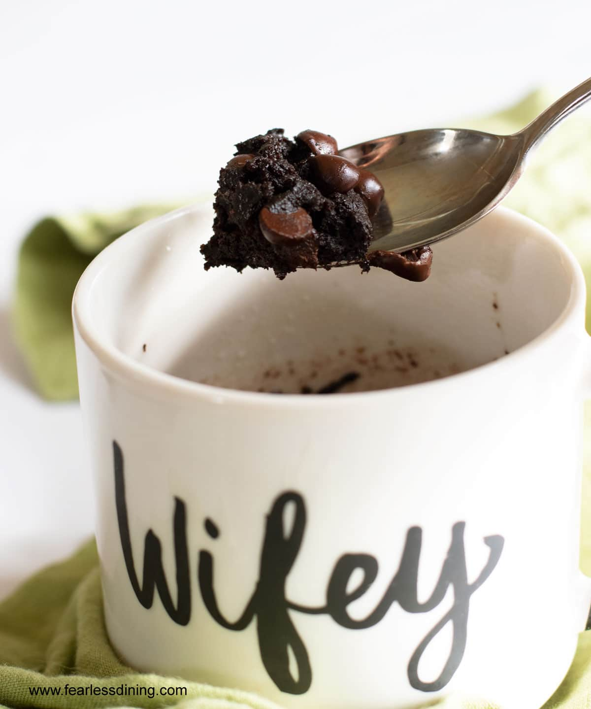 a spoonful of cooked gluten free mug brownie