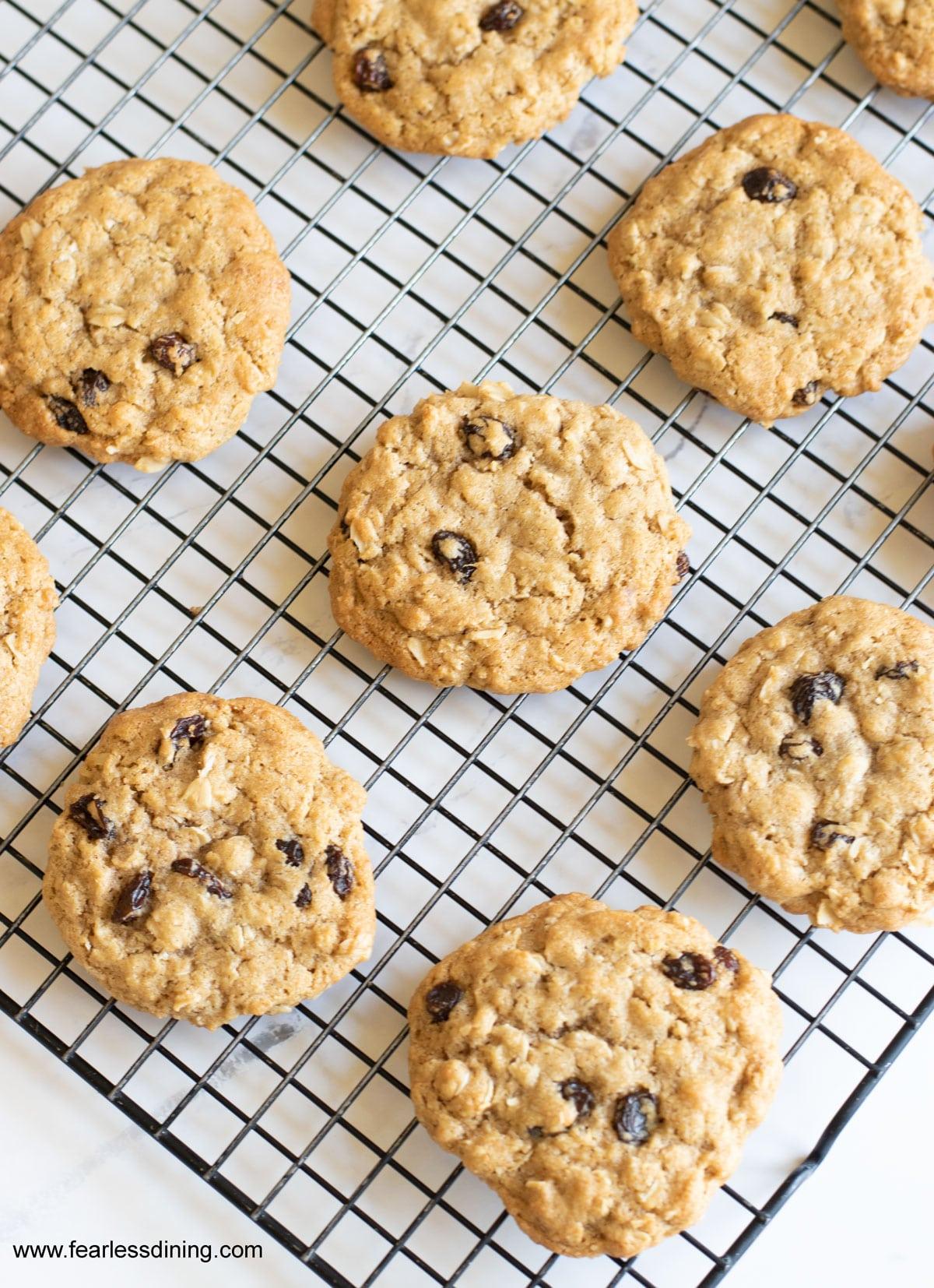 oatmeal raisin cookies on a cooling rack
