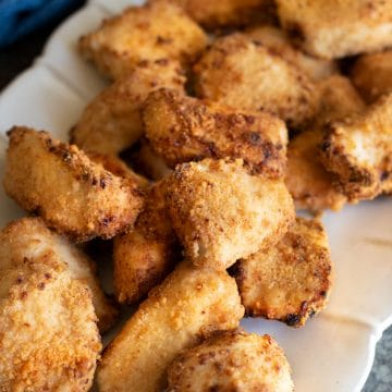 a platter filled with air fried gluten free chicken nuggets