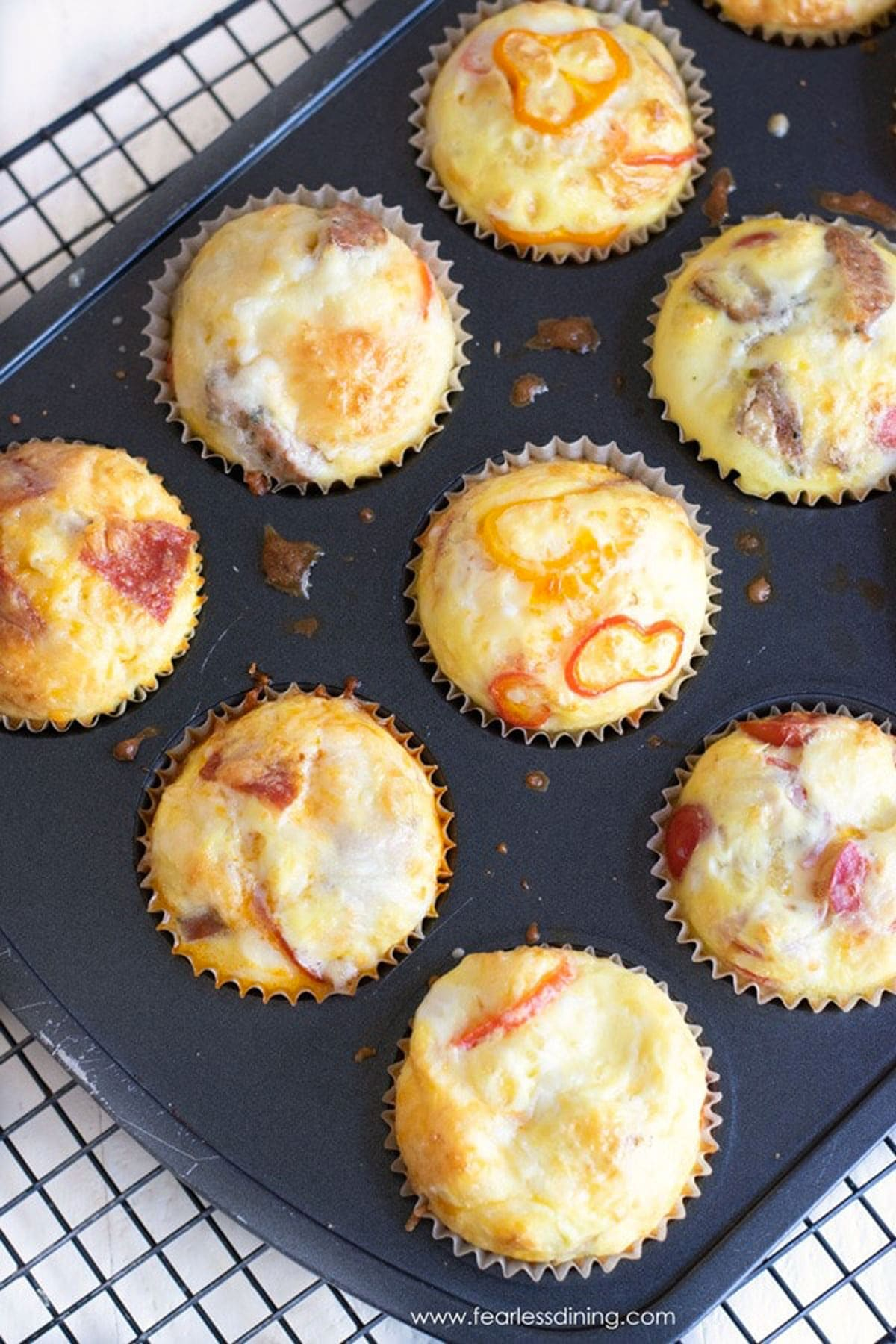 baked egg muffins in a muffin tin