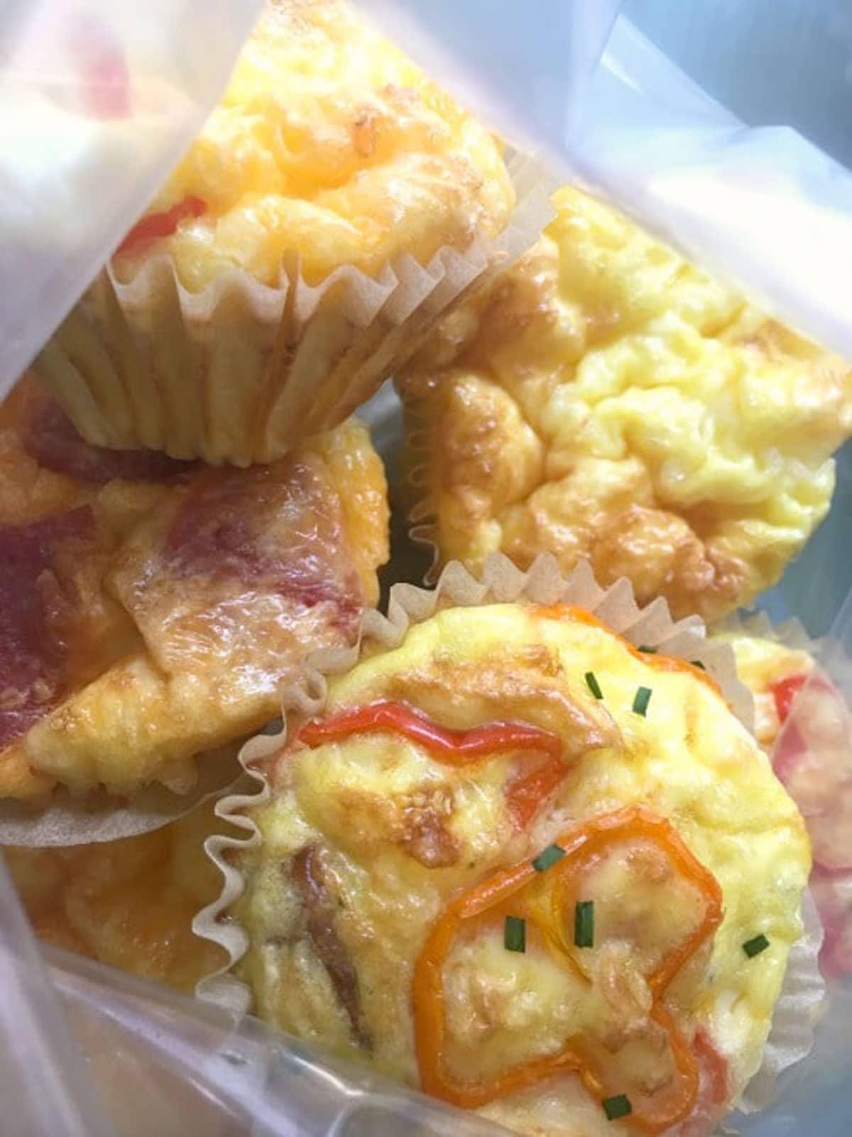 egg muffins in a ziplock freezer bag