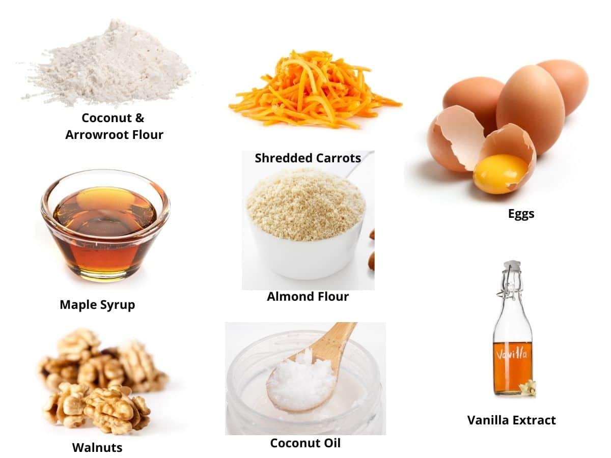 gluten free carrot muffins ingredients