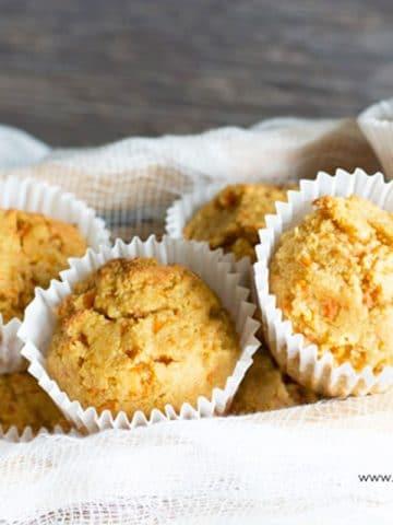 gluten free carrot muffins in a basket
