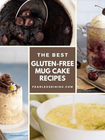 a collage of four mug cake photos