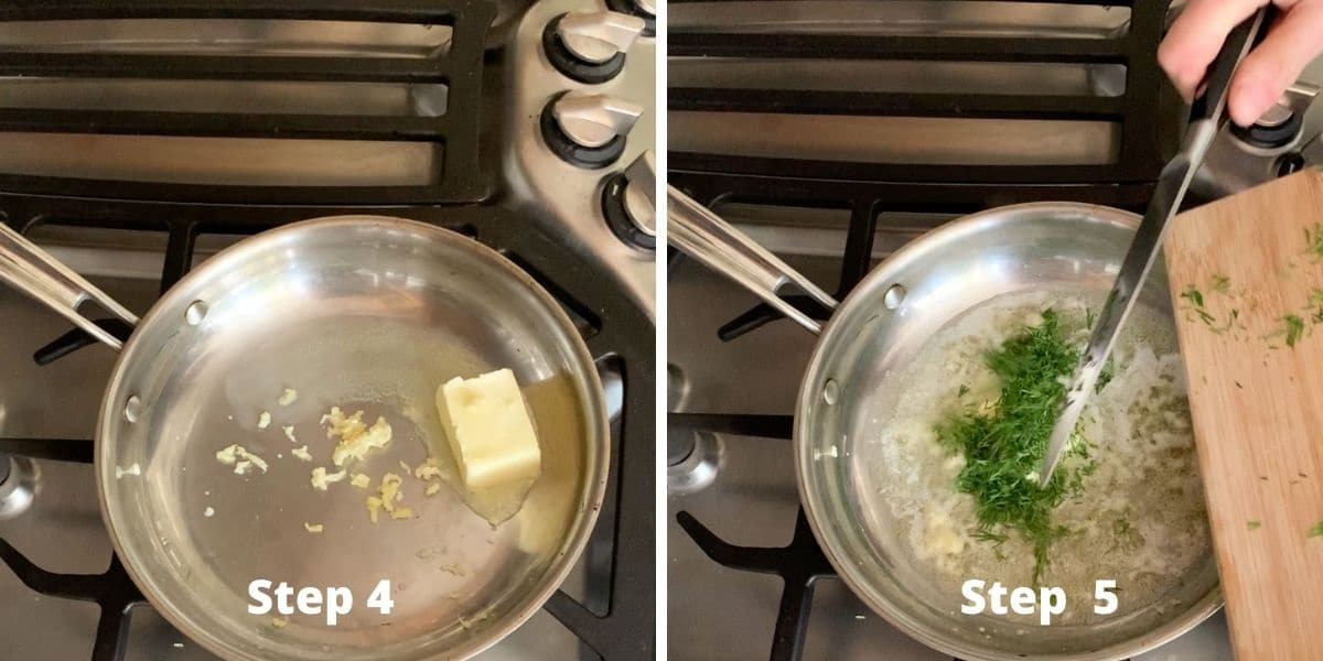 photos of steps 4 and 5 cooking the sauce