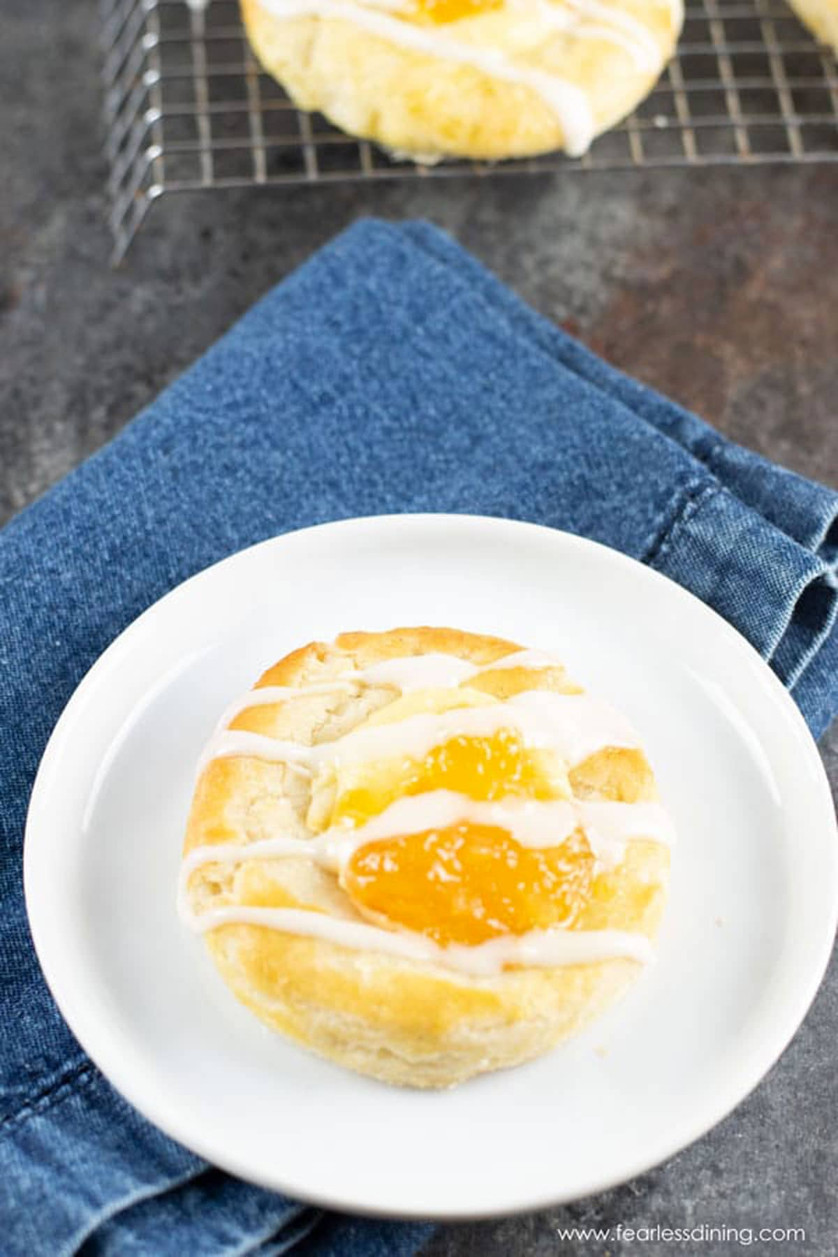 a gluten free cheese Danish on a plate