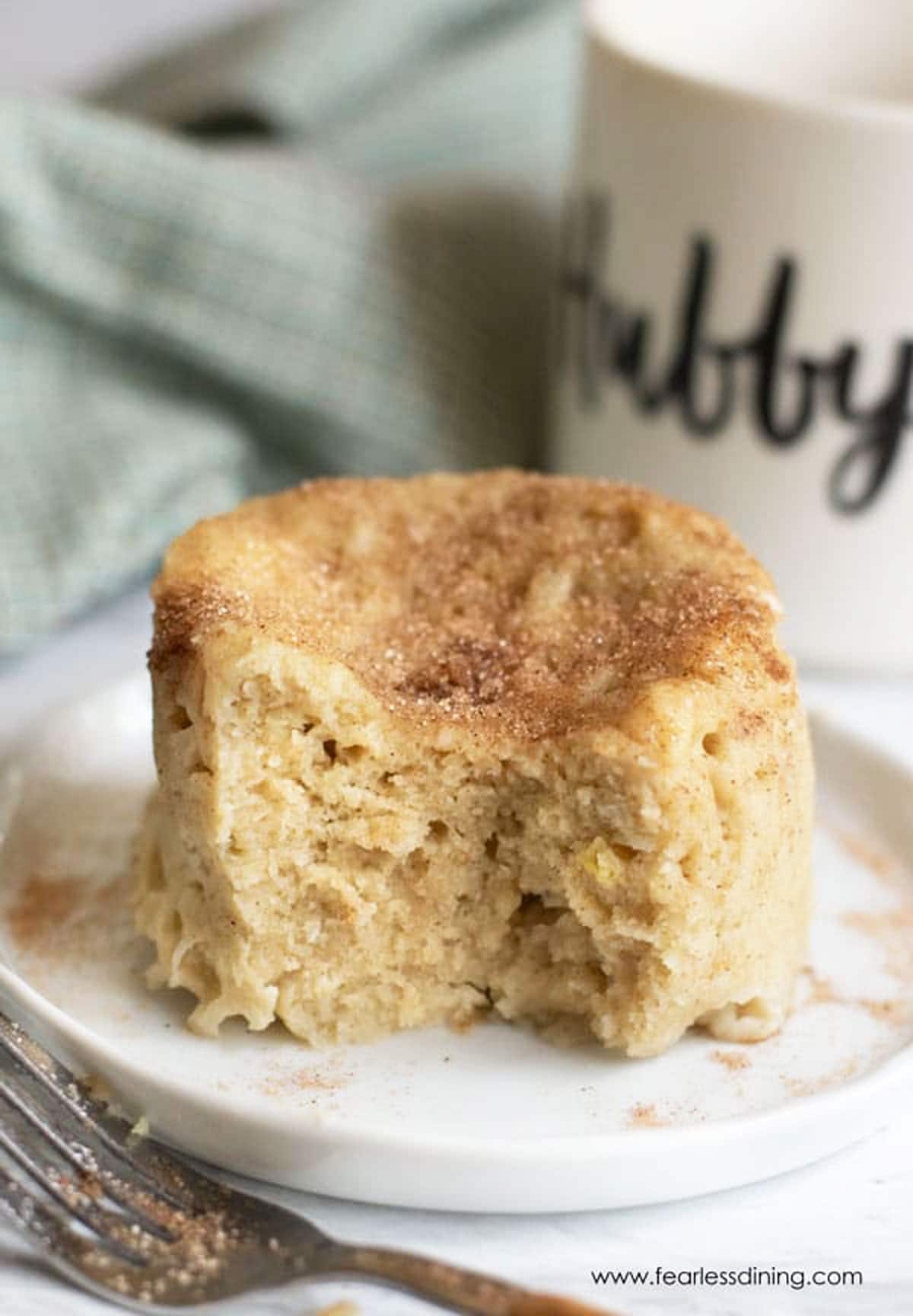 a snickerdoodle mug cake on a plate
